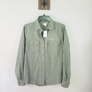New $79.50 J. Crew Olive Green Button Up Cotton